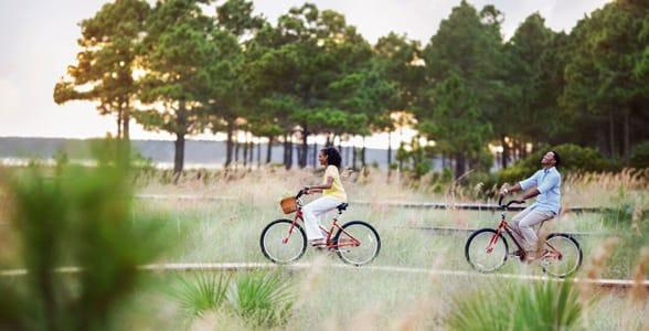 Photo of a couple biking