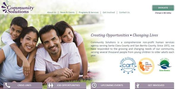 Screenshot of Community Solution's website