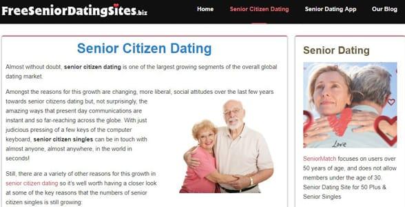 Screenshot of FreeSeniorDatingSites.biz