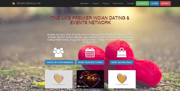 Screenshot of IndianSinglesUK's homepage