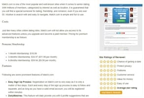 Screenshot of Match.com's review on FreeDatingSitesOver50.com
