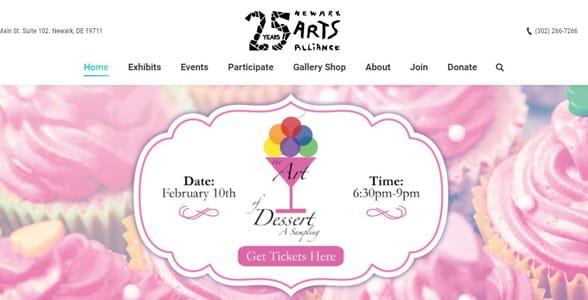 Screenshot from the Newark Arts Alliance website