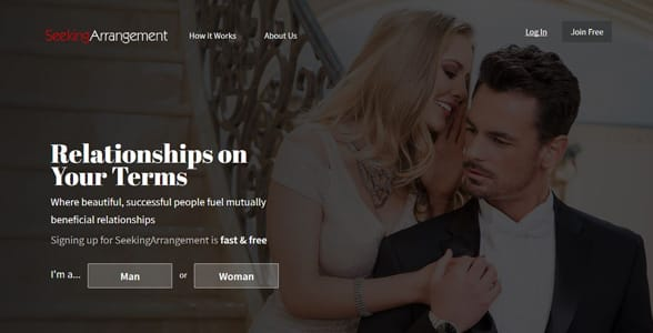 Screenshot of SeekingArrangement's homepage