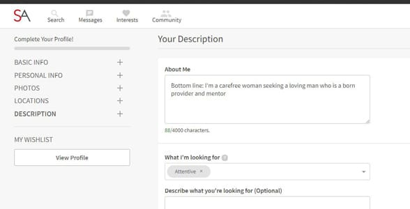 Screenshot of SeekingArrangement's profile setup