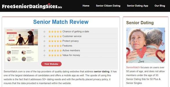 Screenshot of a FreeSeniorDatingSites.biz review