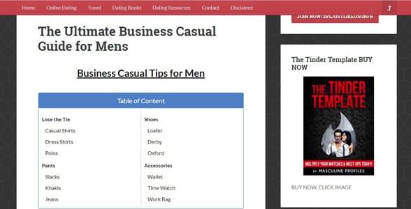 Screenshot of a Masculine Profiles article