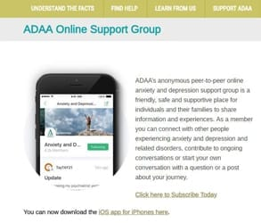 Screenshot of ADAA's support group landing page