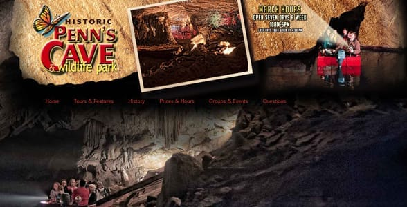 Screenshot of Penn's Cave's website