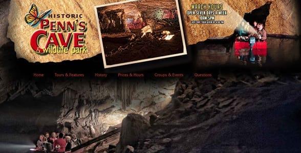 Screenshot of Penn's Cave's website