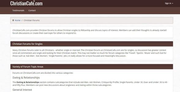 Screenshot of ChristianCafe's forums
