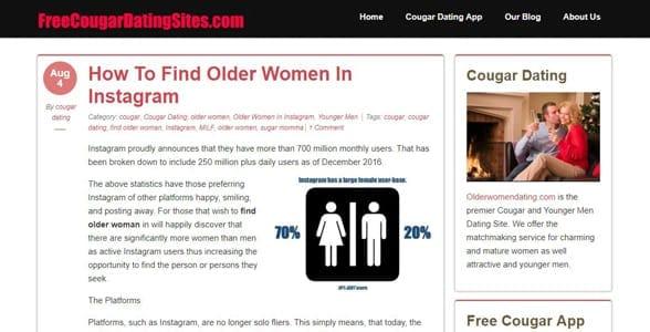 Screenshot of the FreeCougarDatingSites.com blog