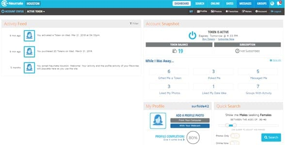 Screenshot of the Dashboad on Neumate