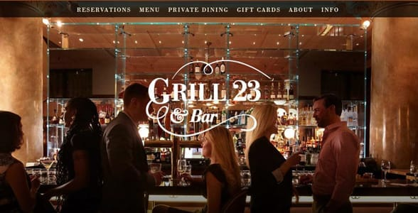 Screenshot of Grill 23's website