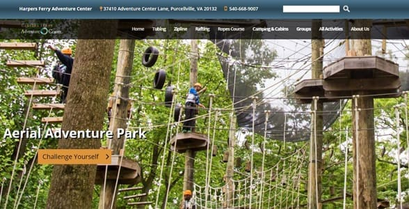 Photo of the aerial courses at Harpers Ferry Adventure Center