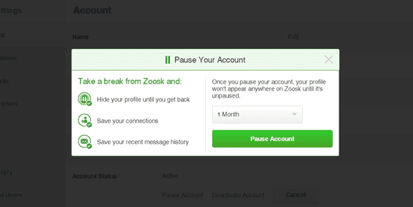 Screenshot of Pause Your Account on Zoosk