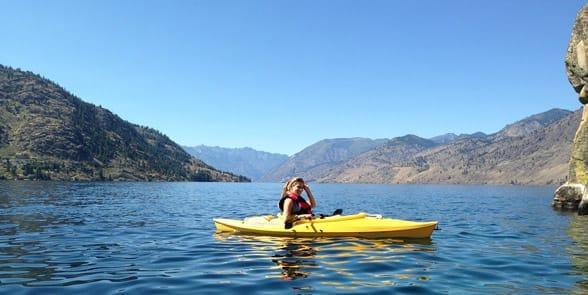 Photo of someone kayaking on Lake Chelan