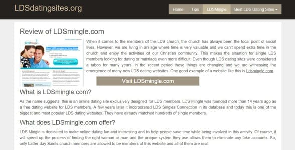 Screenshot of an LDSDatingSites.org review