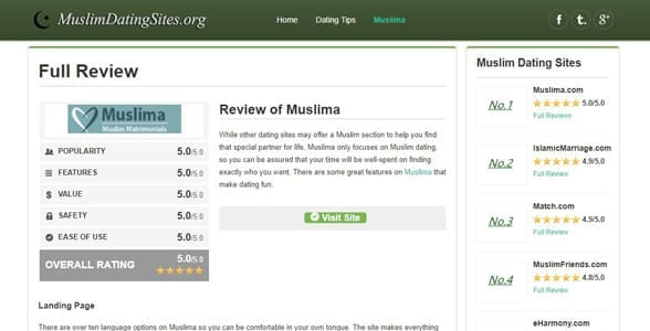 Screenshot of a review on MuslimDatingSites.org