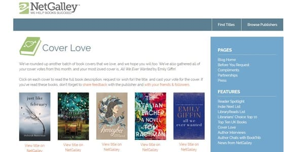 Screenshot of NetGalley's homepage