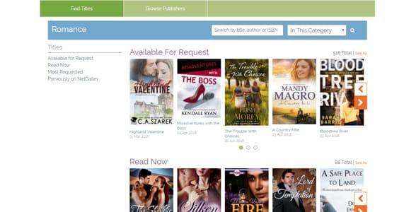 Screenshot of NetGalley's romance section