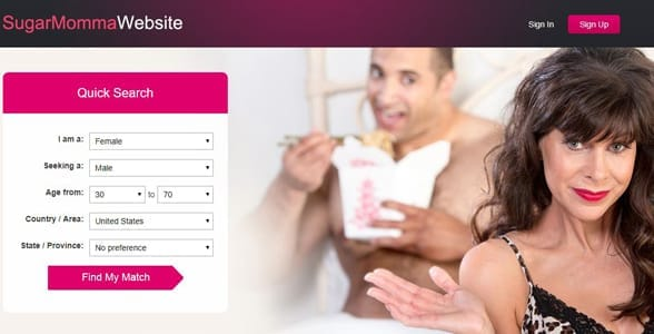 Screenshot of SugarMommaWebsite.com