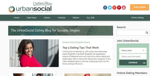 Screenshot of the UrbanSocial blog