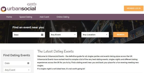 Screenshot of UrbanSocial's events page