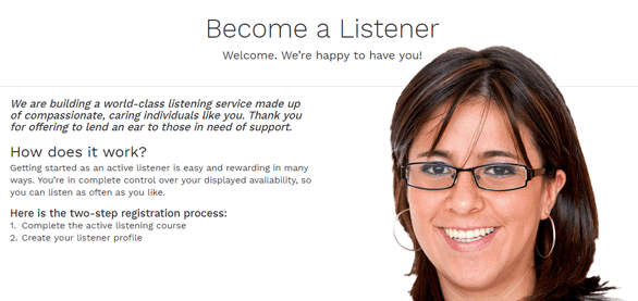 Screenshot of 7 Cups active listening sign up