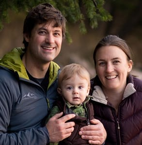 Photo of Spirit of the West Adventures owners, Breanne Quesnel and Rick Snowdon, with their son.