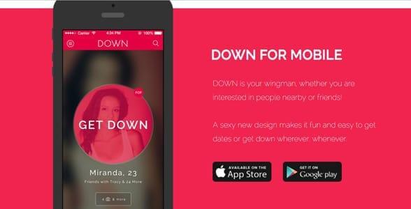 Screenshot of DOWN's website