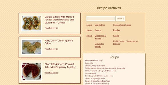 Screenshot of Mollie Katzen's recipe archives