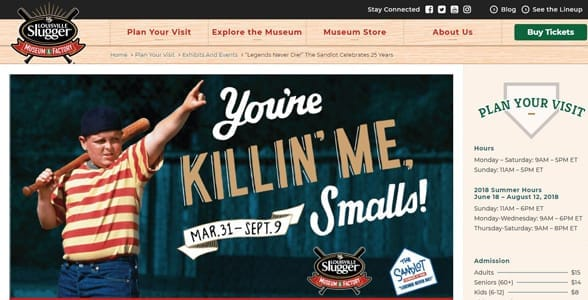 Screenshot from the Louisville Slugger Museum and Factory website