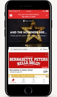 Screenshot of the TodayTix app