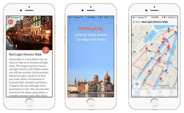 Screenshots of the GPSmyCity app on iPhone