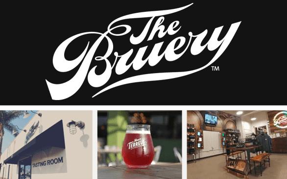 Screenshots of The Bruery logo and three locations