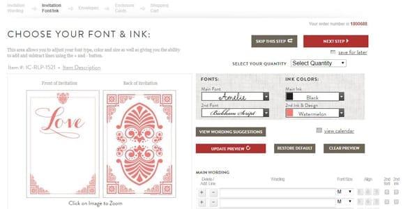 Screenshot of Invitation Consultants' personalization tools