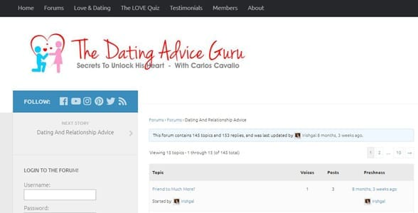 Screenshot of the Dating Advice Guru forums