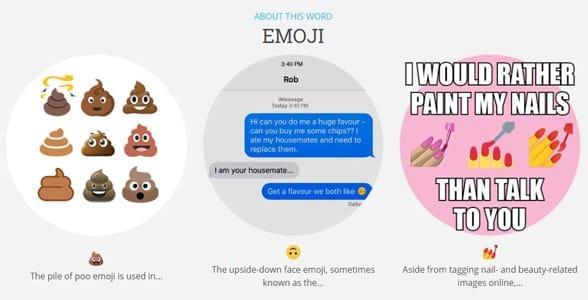 Screenshot of Dictionary.com's emoji page