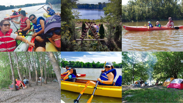 Collage of Kayak Morris kayakers and campers