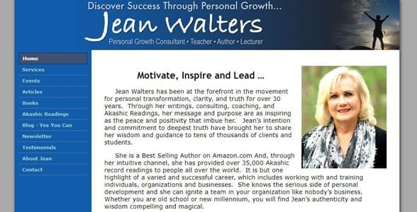 Screenshot of Jean Walters' website