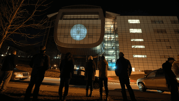 Photo of art projected onto EMPAC