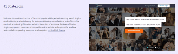 Screenshot of JewishsDatingSites.com's Jdate review