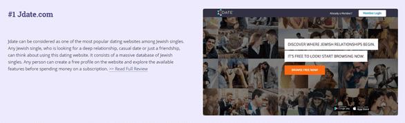 Screenshot of JewishsDatingSites.com's Jdate review