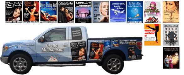 Photo of Gregg Michaelsen's work truck with his books