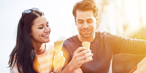 Photo of a couple eating ice cream