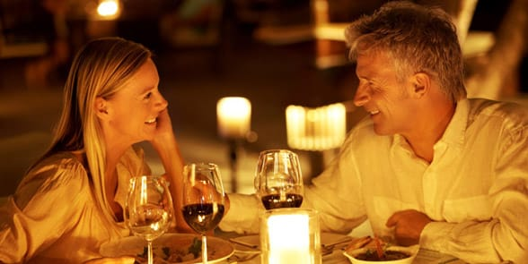 Photo of a couple having a romantic dinner
