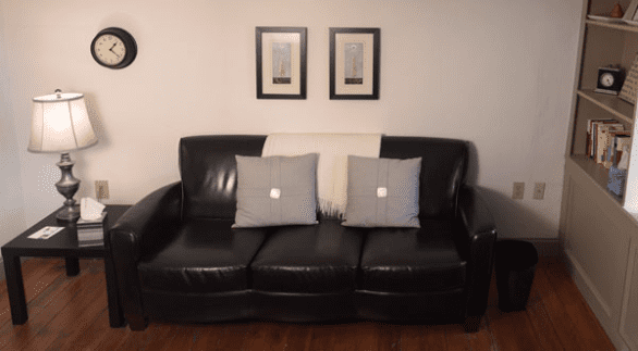 Photo of couch in Shelby Riley's office