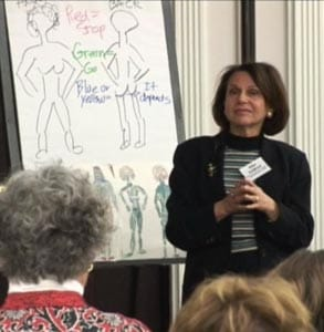 Photo of Dr. Aline Zoldbrod speaking at a conference