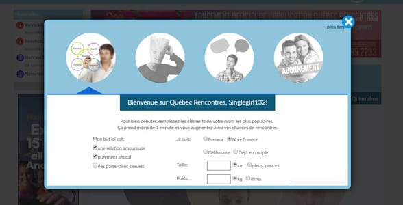 Screenshot of the sign-up process