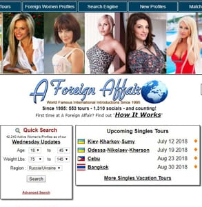 Screenshot of A Foreign Affair's website